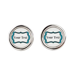 Personalizable Teal Black White 2 Round Cufflinks