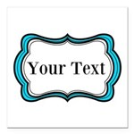 Personalizable Teal Black White 2 Square Car Magne