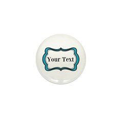 Personalizable Teal Black White 2 Mini Button (10