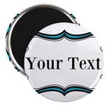 Personalizable Teal Black White 2 Magnets