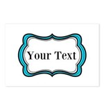 Personalizable Teal Black White 2 Postcards (Packa