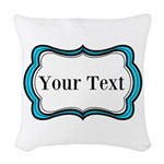 Personalizable Teal Black White 2 Woven Throw Pill