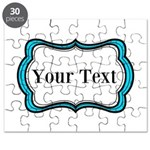 Personalizable Teal Black White 2 Puzzle
