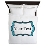 Personalizable Teal Black White 2 Queen Duvet