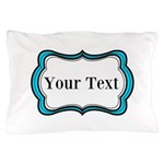 Personalizable Teal Black White 2 Pillow Case