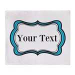 Personalizable Teal Black White 2 Throw Blanket