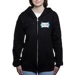 Personalizable Teal Black White 2 Women's Zip Hood