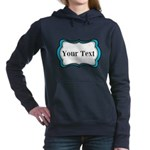 Personalizable Teal Black White 2 Women's Hooded S