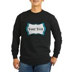 Personalizable Teal Black White 2 Long Sleeve T-Sh
