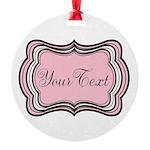 Personalizable Light Pink Black White Ornament