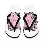 Personalizable Light Pink Black White Flip Flops