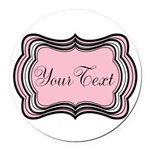 Personalizable Light Pink Black White Round Car Ma