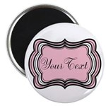 Personalizable Light Pink Black White Magnets