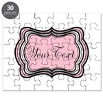Personalizable Light Pink Black White Puzzle