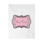 Personalizable Light Pink Black White Twin Duvet