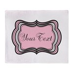 Personalizable Light Pink Black White Throw Blanke