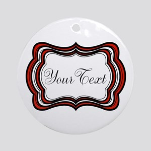 Personalizable Red Black White Round Ornament