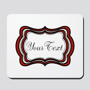 Personalizable Red Black White Mousepad