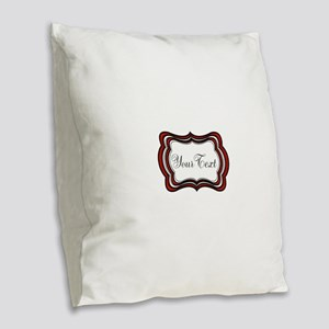Personalizable Red Black White Burlap Throw Pillow