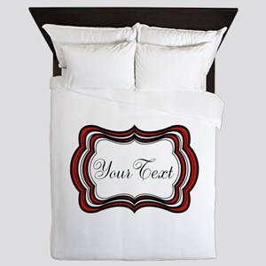 Personalizable Red Black White Queen Duvet
