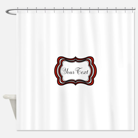 Personalizable Red Black White Shower Curtain