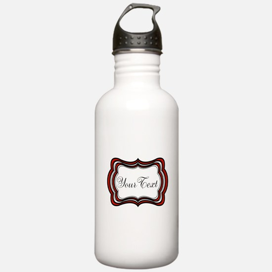 Personalizable Red Black White Water Bottle