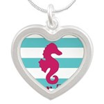 Personalizable Teal Eggplant Sea Horse Necklaces