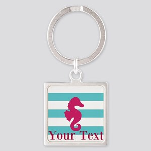 Personalizable Teal Eggplant Sea Horse Keychains