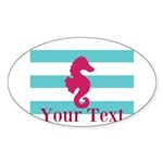 Personalizable Teal Eggplant Sea Horse Sticker