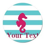 Personalizable Teal Eggplant Sea Horse Round Car M