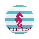 Personalizable Teal Eggplant Sea Horse Button