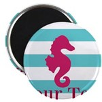 Personalizable Teal Eggplant Sea Horse Magnets