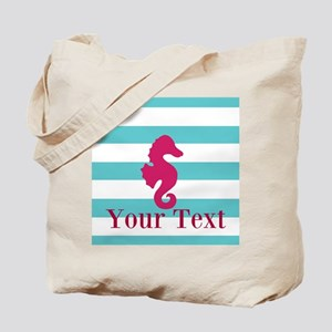 Personalizable Teal Eggplant Sea Horse Tote Bag