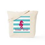 Personalizable Teal Eggplant Sea Horse Tote Bag