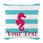 Personalizable Teal Eggplant Sea Horse Woven Throw