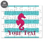 Personalizable Teal Eggplant Sea Horse Puzzle