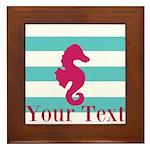 Personalizable Teal Eggplant Sea Horse Framed Tile