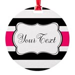 Personalizable Hot Pink Black Striped Ornament