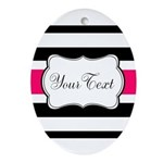 Personalizable Hot Pink Black Striped Oval Ornamen