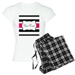 Personalizable Hot Pink Black Striped Pajamas