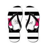 Personalizable Hot Pink Black Striped Flip Flops