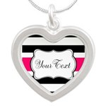 Personalizable Hot Pink Black Striped Necklaces