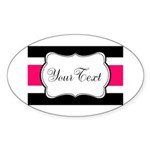 Personalizable Hot Pink Black Striped Sticker