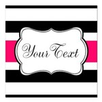 Personalizable Hot Pink Black Striped Square Car M
