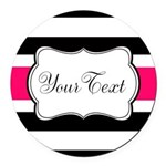 Personalizable Hot Pink Black Striped Round Car Ma