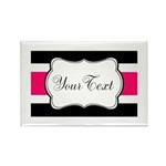 Personalizable Hot Pink Black Striped Magnets