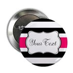 Personalizable Hot Pink Black Striped 2.25