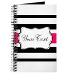Personalizable Hot Pink Black Striped Journal