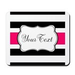 Personalizable Hot Pink Black Striped Mousepad