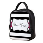 Personalizable Hot Pink Black Striped Neoprene Lun